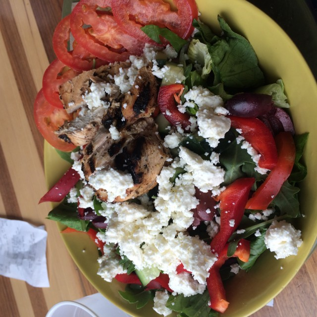 A Spinach Salad With Tomatoes, Red Bell Peppers, Kalamata Olives, Chicken And Loads Of Feta Cheese!